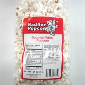 Badger 1.25 oz Gourmet White Popcorn, 48/Case